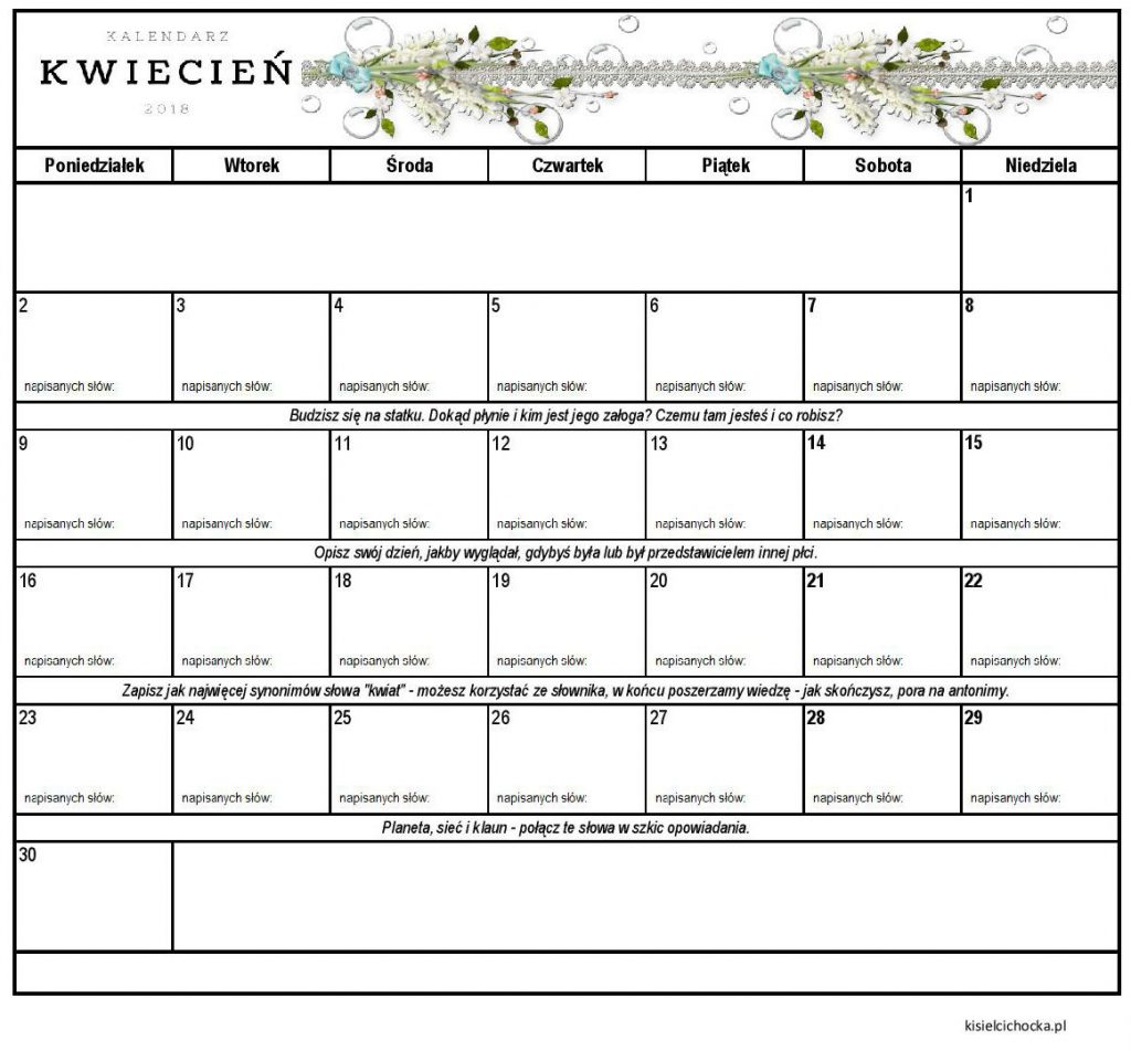 kalendarz inspiracji kwiecień